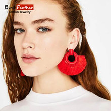 Bohemian Round Metal Women Earrings Black White Blue Red Pink Silk Fabric Long Drop Dangle Tassel Earrings For Women Jewelry(China)