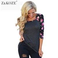 Owlprincess 2016 Women Vintage Floral Prited T Shirts Three Quarter Sleeve O Neck Casual Basic T