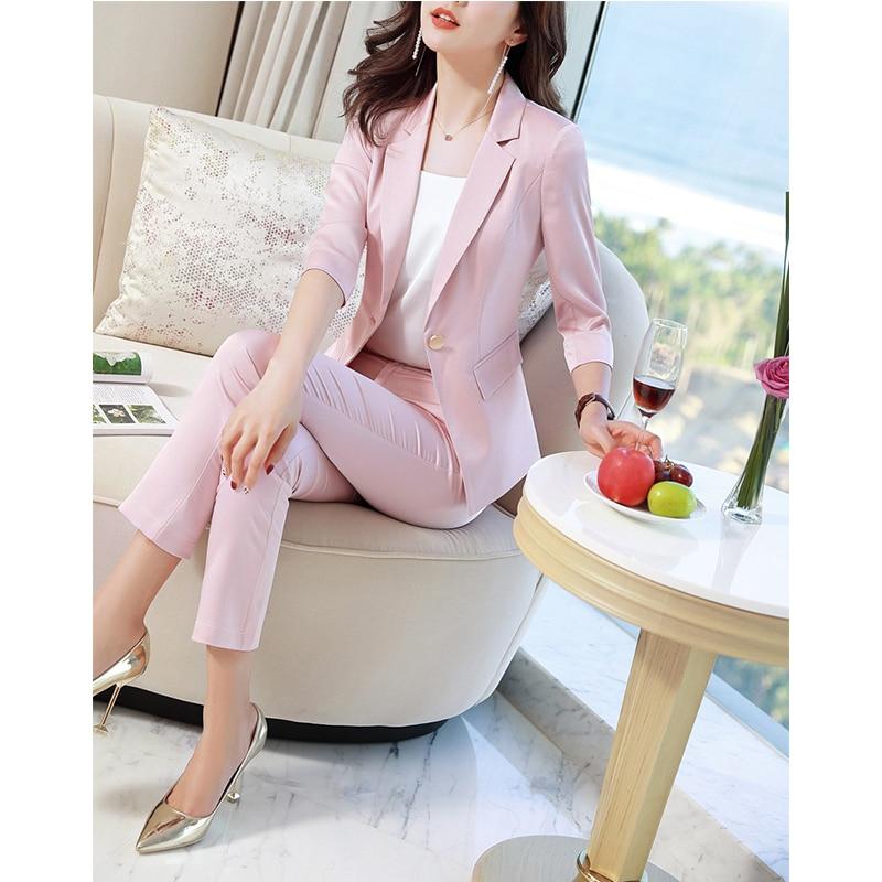 Новый модный однотонный комплект из двух предметов, женские брючные костюмы для офисных леди, 7 точек, облегающий блейзер с рукавом и штаны, костюм для отдыха