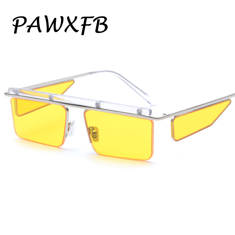 Pop Age 2018 New Brand Designer Square Summer Sunglasses Women Men Clear Yellow Blue Sun Glasses Female Oculos de sol Shades