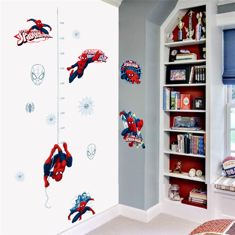cartoon hero spiderman height measure wall stickers for kids rooms home decor growth chart wall decals pvc poster diy mural art in Wall Stickers from Home Garden