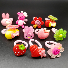 10pcs Fashion Small Children Baby Rings Wholesale lots Mixed Animal Flower Fruit Resin Finger Band