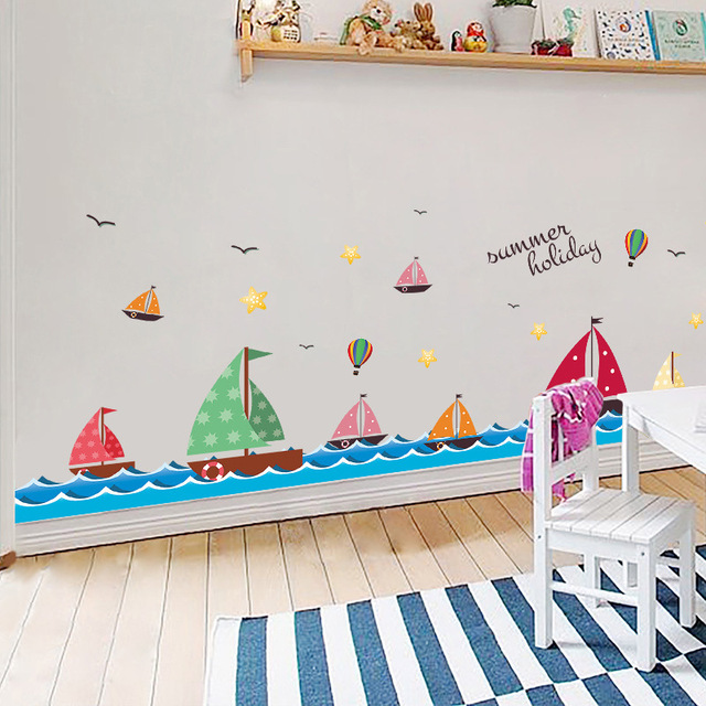 DIY Cartoon Colorful Sailing Boat Kids Baby Room Decorative Vinyl Wall  Stickers Bathroom Wall Decals Decor