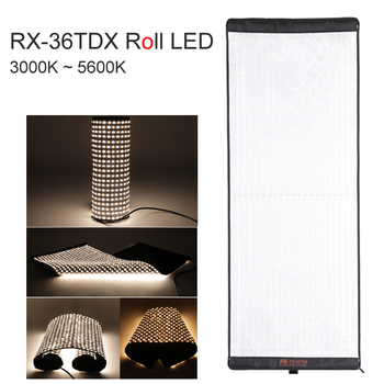 FalconEyes Flexible Rollable Cloth LED Fill-in Light Lamp Studio Video Photo Lighting Panel 240W Bi-Color 3000K-5600K RX-36TDX Photographic Lighting