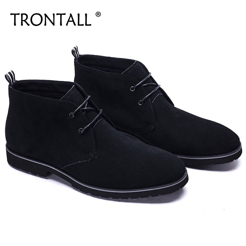 TRONTALL Genuine Leather Cowhide British Style Boots Sewing Lace-up Rubber Non-slip Hand ...
