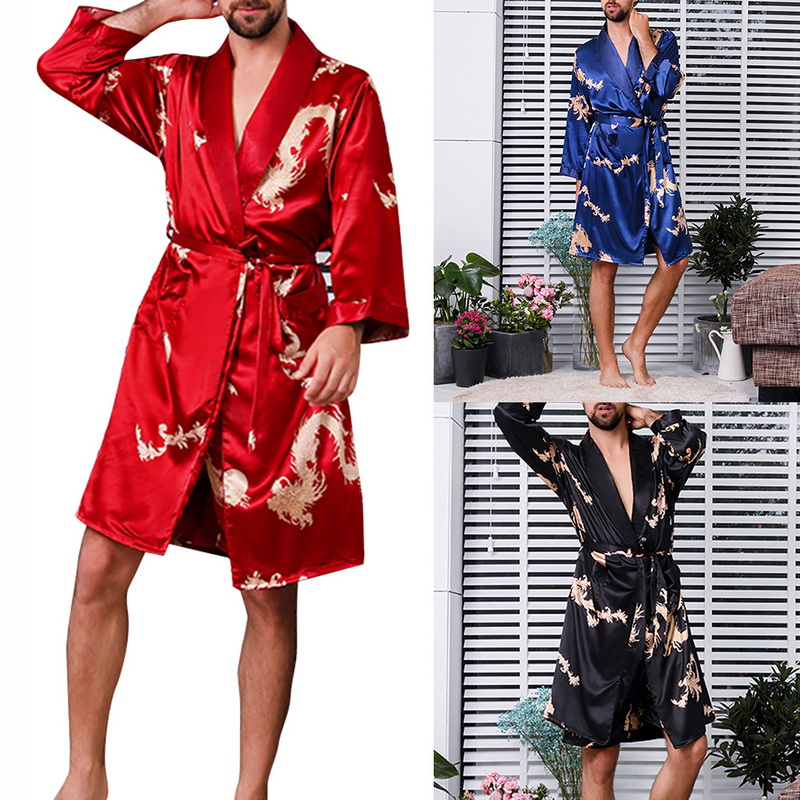 Men Luxury Chinese  Dragon Sleep Robes Home Silky Long Bathrobe Brand Faux Silk Long Male Sleep Robe Plus Size 5XL Sleepwear