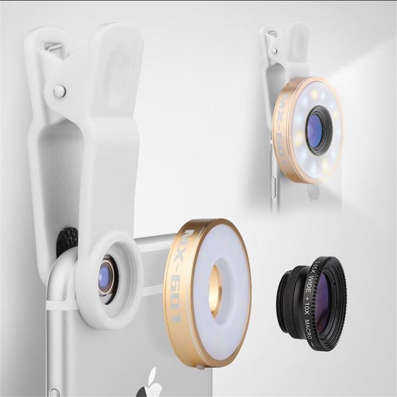 bilder für Fisheye Handy-kamera-objektiv Kit LED Selfie Fill-in licht + Macro + Weitwinkel Objektiv für iPhone 7 7 plus Samsung S8 S7 Universal V04
