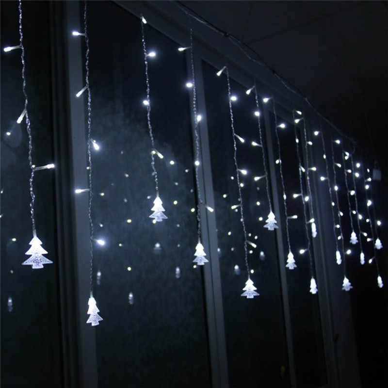 Праздник света гирлянда-занавес Сосулька свет шнура 220 V 4 M свисать 96 Светодиодный S гирляндой вечерние Сад Комнатные светодиодные светильники украшения
