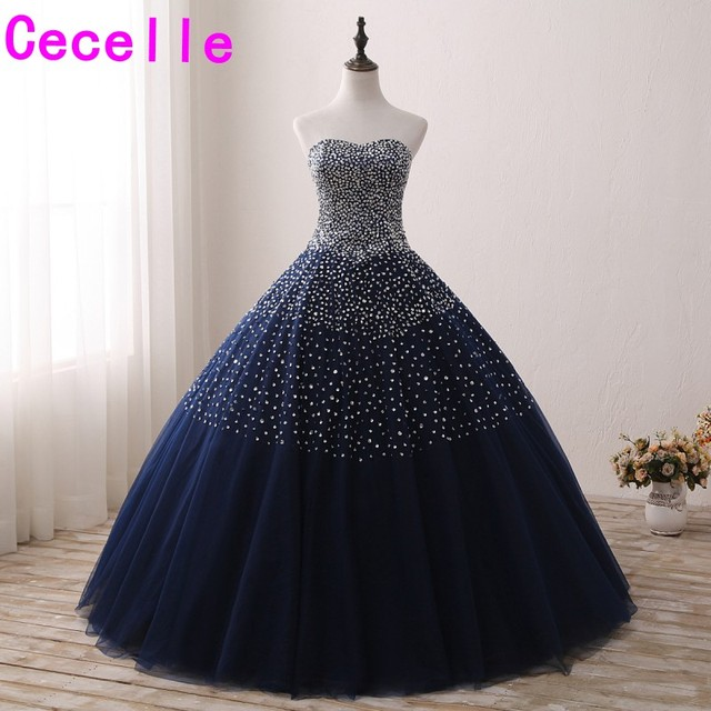 Sparkly Beaded Navy Blue Ball Gown Prom Dresses Sweetheart Beaded