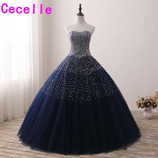 Online Shop Sparkly Beaded Navy Blue Ball Gown Prom Dresses