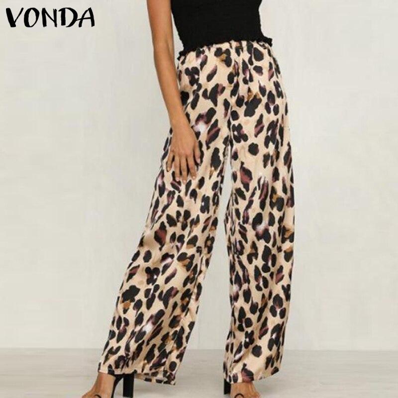 VONDA Women Leopard   Pants   2019 Casual Loose   Wide     Leg     Pants   Sexy Elastic Waist Long Print Trousers Autumn Summer Bottom Plus Size