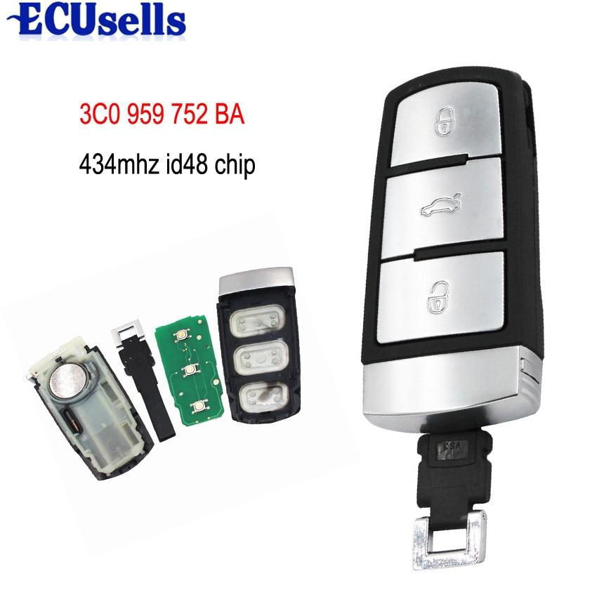 Rigoroso 3 Bottoni Smart Chiave A Distanza Fob Per Vw 434 Mhz Con Id48 Chip Per Magotan Passat Cc 3c0 959 752 Ba