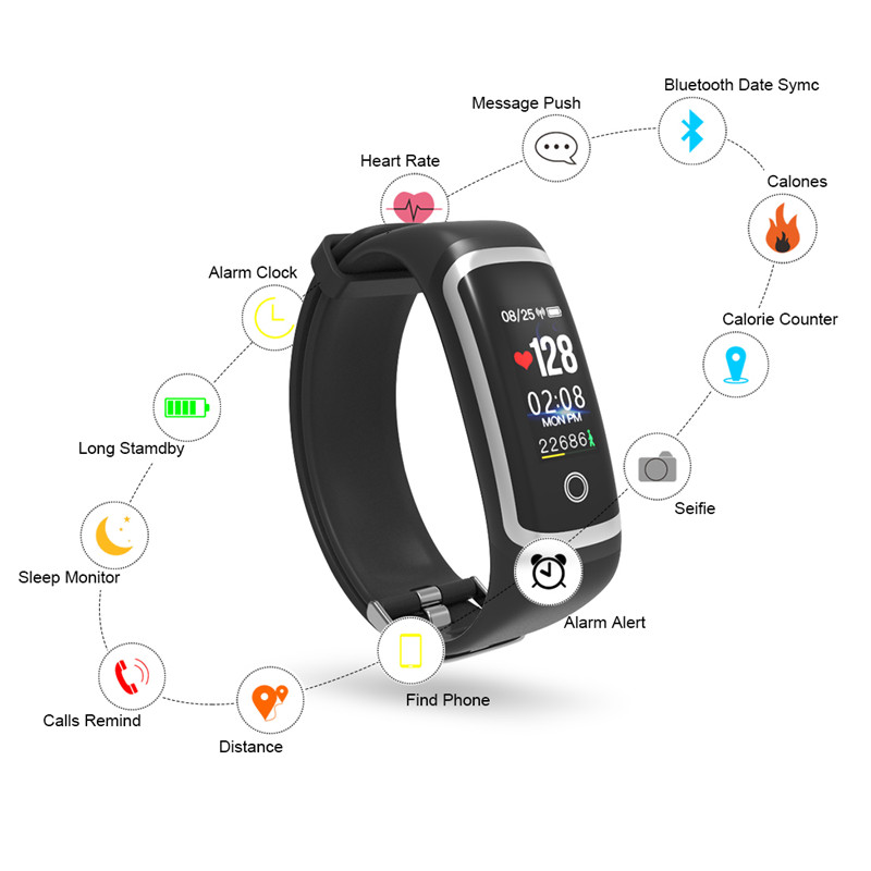Longet Fitness Tracker M4 Blood Pressure Waterproof Smart Bracelet Call Reminder Calories Smart Band Sport Watch for iOS in Smart Wristbands from Consumer Electronics