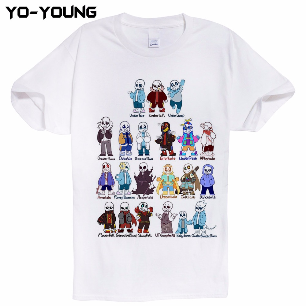Design t shirt games online - Undertale Sans Fashion Game T Shirts Men Funny Design Printing Cotton Casual Men Top Tees Customized