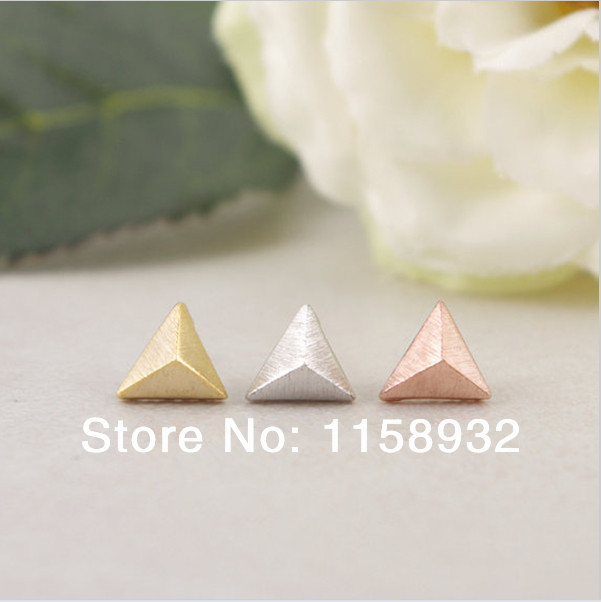 Fashion Gold Silver Rose Color Little Pyramid Stud Earrings Free Shipping In From Jewelry Accessories On Aliexpress Alibaba Group