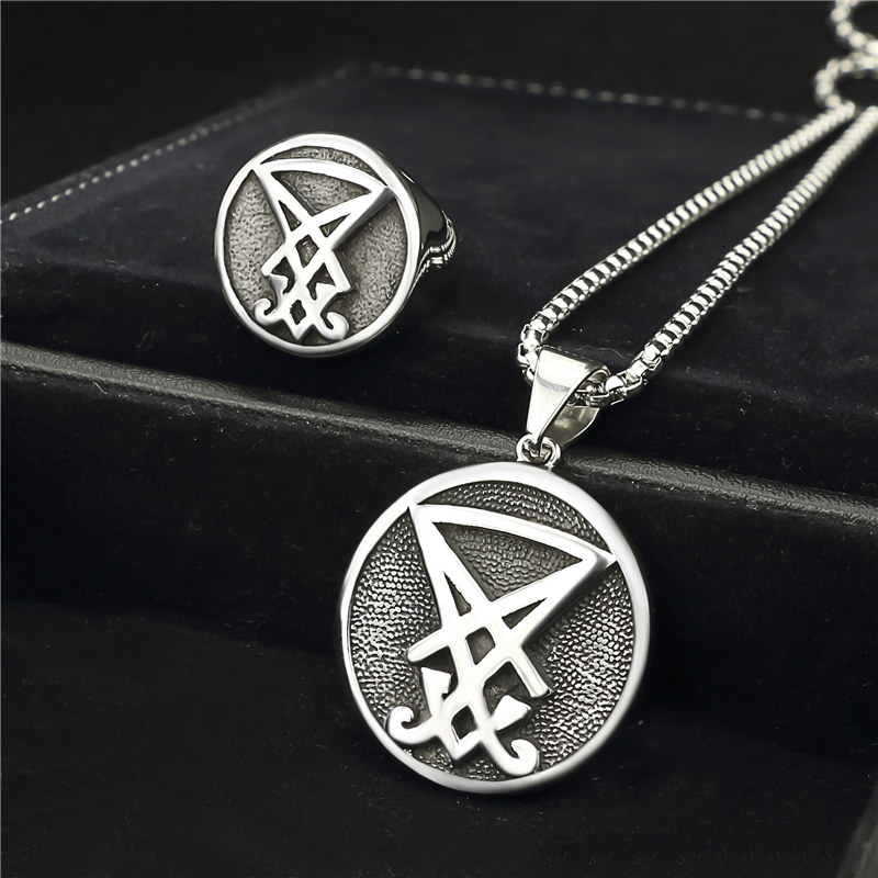Mens Boys Sigil of Lucifer Stainless Steel Seal of Satan Stainless Steel Ring Pendant Necklace Jewelry Sets weldability of ferritic stainless steel