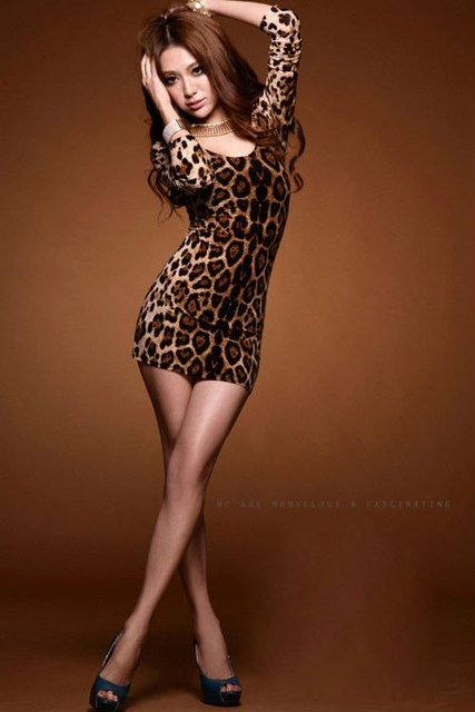 3cb9132975 SEXY LEOPARD PRINT LONG SLEEVE OPEN BACK BODYCON SLIM FIT MINI PARTY CLUB  DRESS TOP 0027