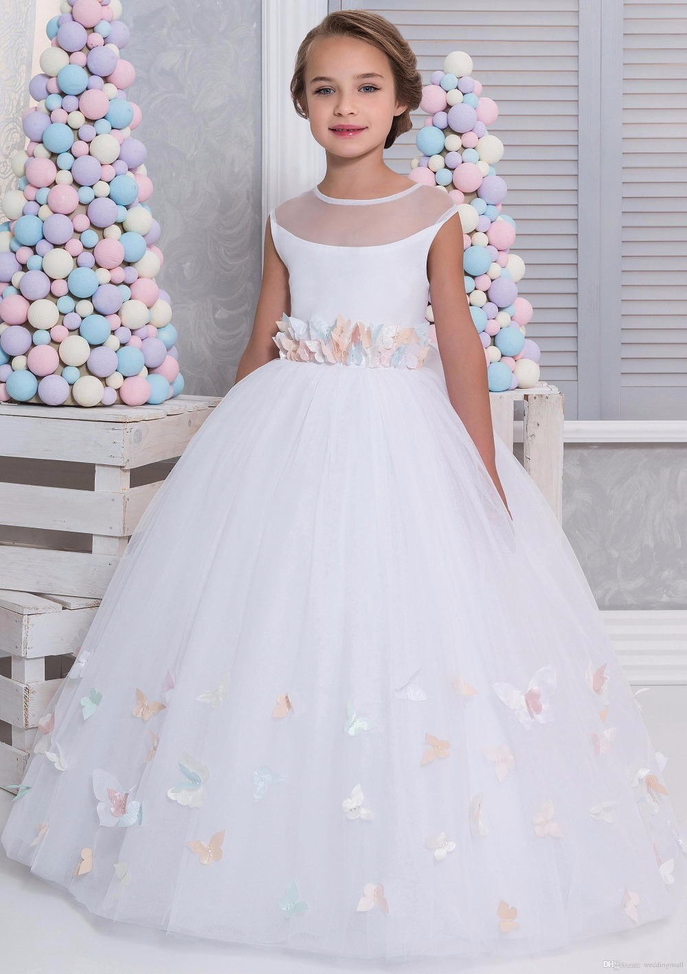 White 2017   Flower     Girl     Dresses   for Weddings Ball Gown Lace Arabic Little   Girls   Pageant Gown First Communion   Dress