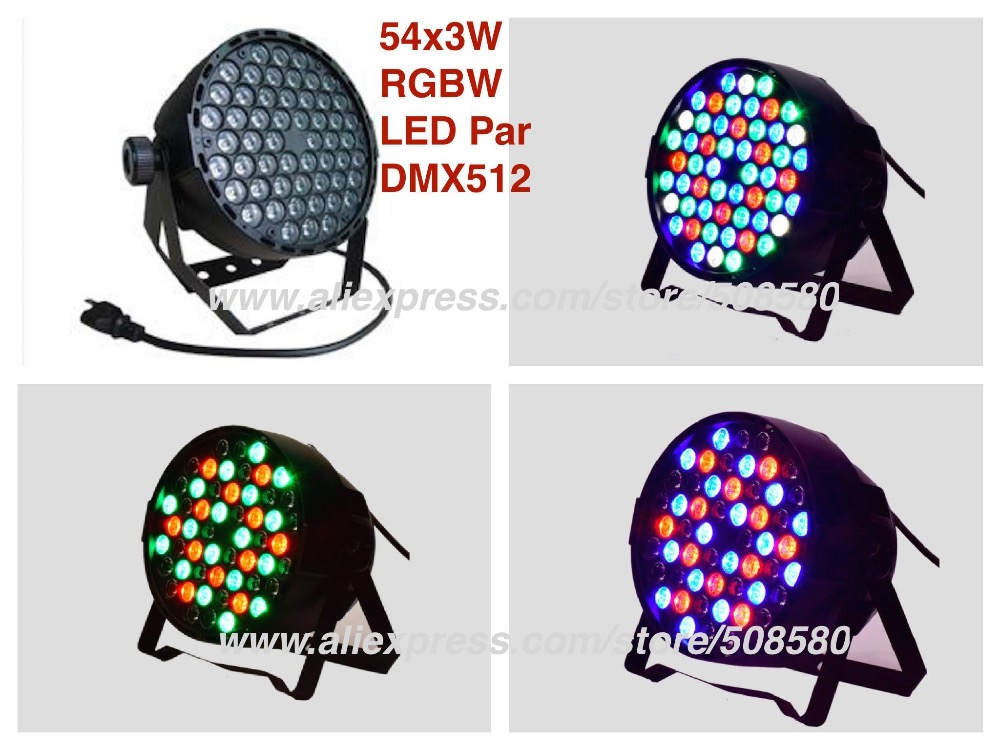все цены на 10pcs/Lot, Led par Light 54x3W RGBW DMX512 Plastic party stage disco club dj dmx led wash effect lights онлайн