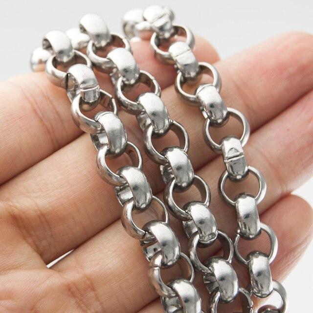 Ze stali nierdzewnej duże ciężkie Rolo łańcuch mężczyźni 10mm szerokość Punk grube naszyjnik łańcuch sprzedaży w miernik do biżuterii znalezienie sprzedaż hurtowa