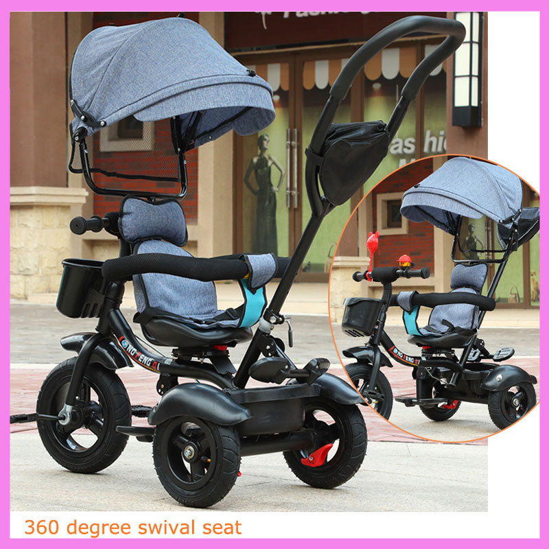 Swivel Seat Baby Tricycle Bike Children Bicycle Stroller Trolley Three 3 Wheel Baby Carriage Child Pram Buggy Pushchair 6M~5Y baby stroller with cute ceiling swivel wheel pushchair wide seat deluxe high view traveling trolly with snack tray
