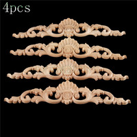 Bowarepro 4pcs Wood Carved Decal Corner Onlay Decal Angle Applique Frame Door Wall Decorate Cabinet Furniture