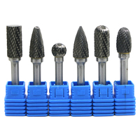 6x Double Cut 12mm Tungsten Carbide Rotary File Burr 6.35mm Shank Metal Grinding