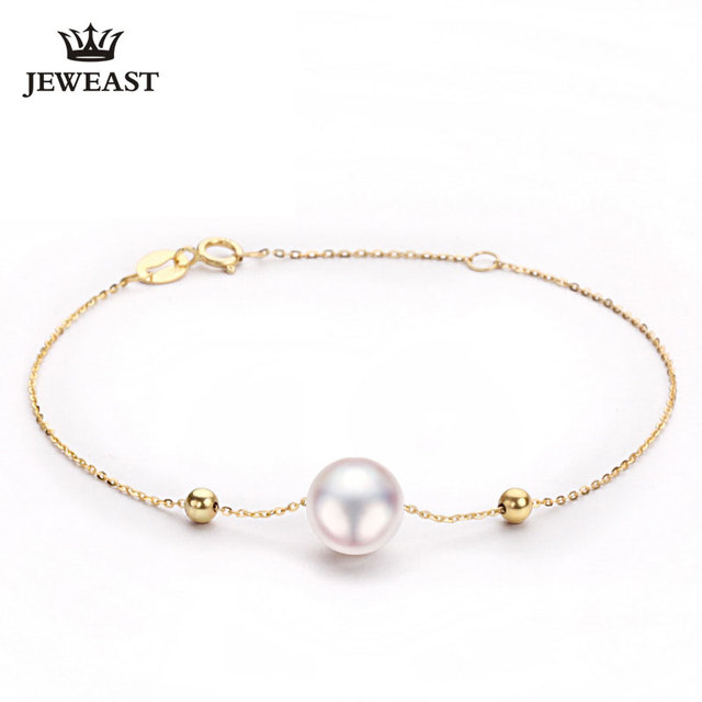 2017 New 18K Pure Gold Bracelet Au750 Gold Bangle Rose Gold Fashion Classic Length Adjustable Japan Pearl Woman Girl Hot Selling
