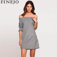 FINEJO Puff Half Sleeve Off Shoulder Plaids A-Line Dress(China)