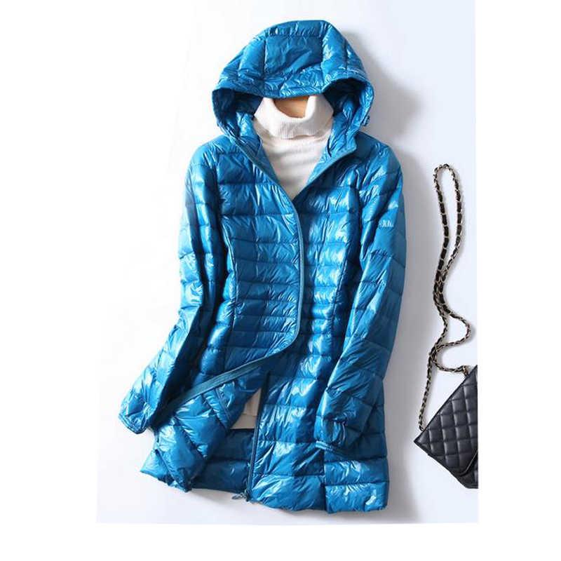 S ~ 6XL осенне-зимняя женская белая куртка на утином пуху, тонкая парка, Дамское пальто с длинным капюшоном, плюс размер, ультра легкая пуховая верхняя одежда, RH1056