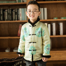 цены boys Chinese traditional New Year clothing kids clothes sets Thick Printed Chinese Knot Spring Festival Tang suit