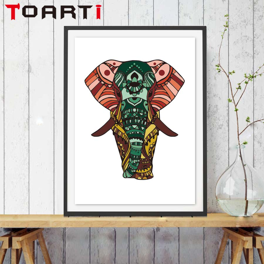 Modern Cartoon Animal Indian Elephant Canvas Art Print Painting Poster A4 Art Wall Picture For Living Room Bedroom Decoration