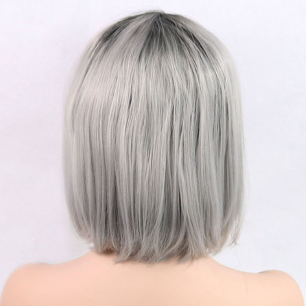 Short Hair Bob Wig Synthetic Lace Front Ombre Gray Lace Front Wig Bob Cheap Wigs-2