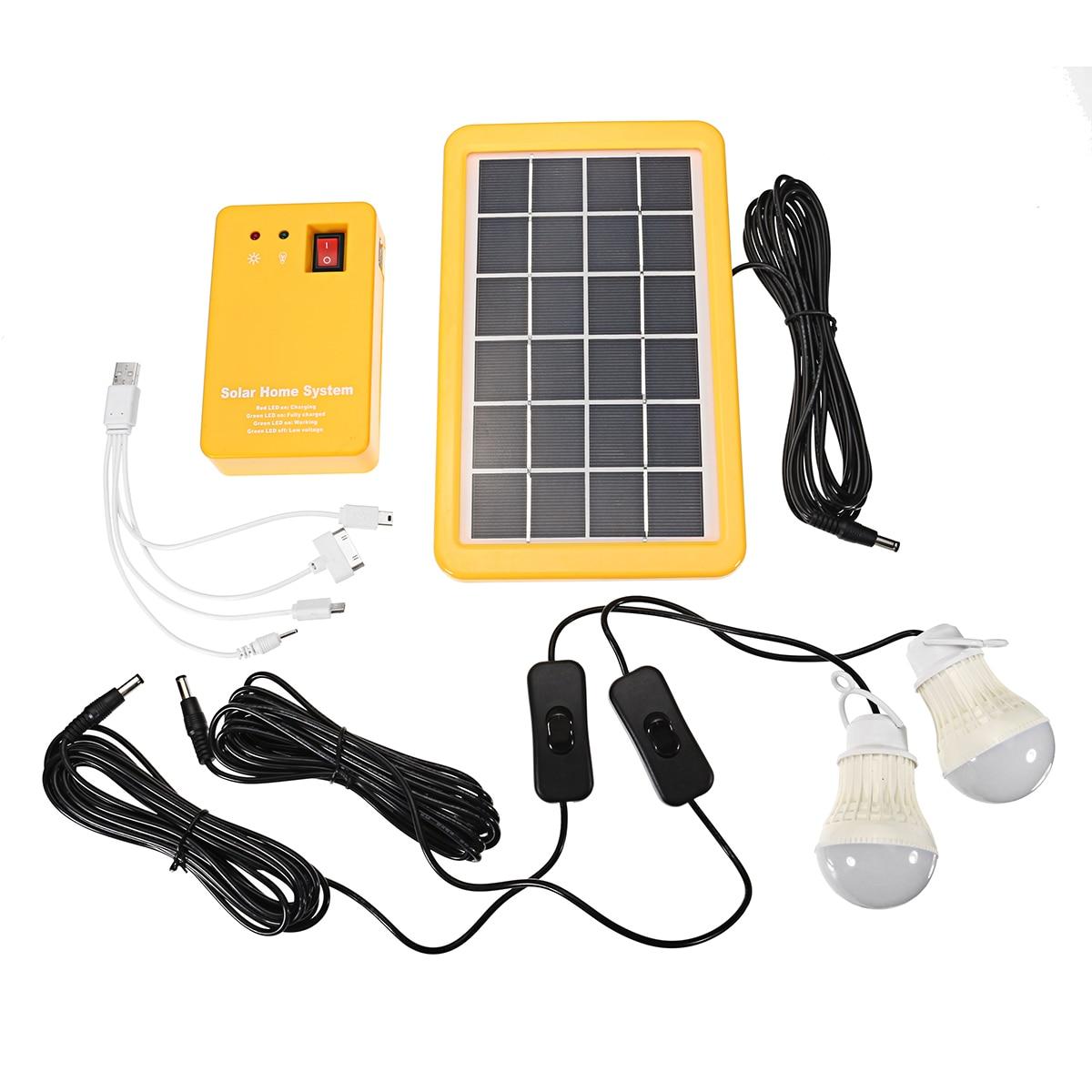 Smuxi 1 Set Solar Power Panel Generator LED Light Bulbs 5V USB Charger Home System Outdoor Garden Solar Lamps