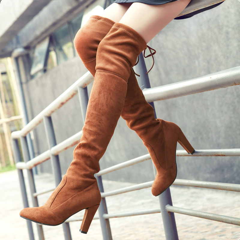 women boots Faux Suede Slim Boots leather Sexy over the knee Autumn winter women shoes thigh high boots shoes woman Fashion sexy thigh high flats women motorcycle boots lace up over the knee long celebrity woman boots shoes leather winter autumn shoes