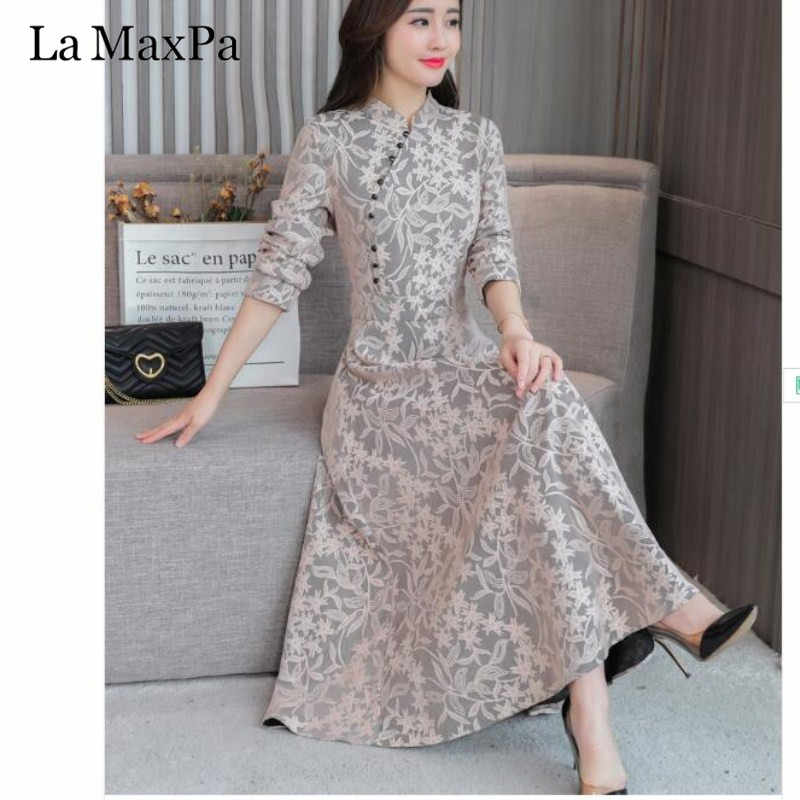 1961f771958 2019 Vintage New Autumn Long Sleeve Lace Women Dress Fashion Maxi Dress  Chinese Style Cheongsam Ethnic