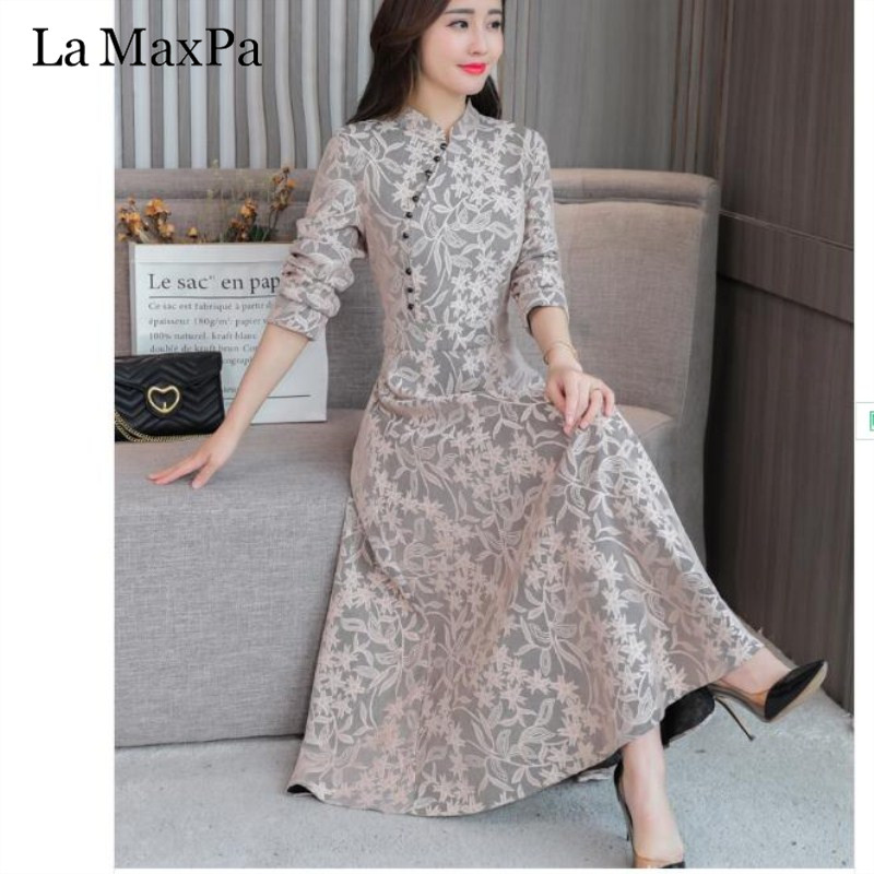 2019 Vintage New Autumn Long Sleeve Lace Women Dress Fashion Maxi Dress Chinese Style Cheongsam Ethnic Style Dresses Womens