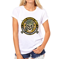Womens Camouflage skull t shirts fashion Summer hip hop camouflage tshirt girl American soldiers Skull top tees N7-5#
