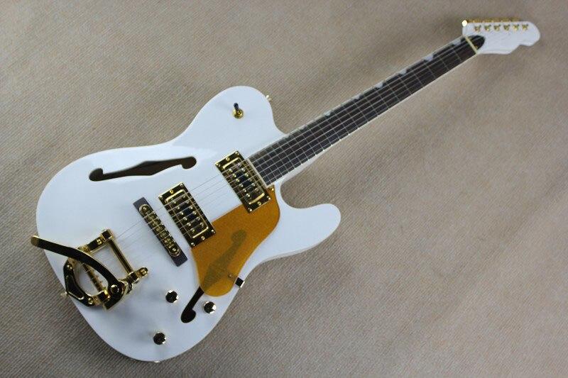 F Bois Naturel Bigsby Grand Rocker Chrome Matériel Telecaster Semi Corps Creux F Trou Jazz Guitare Électrique