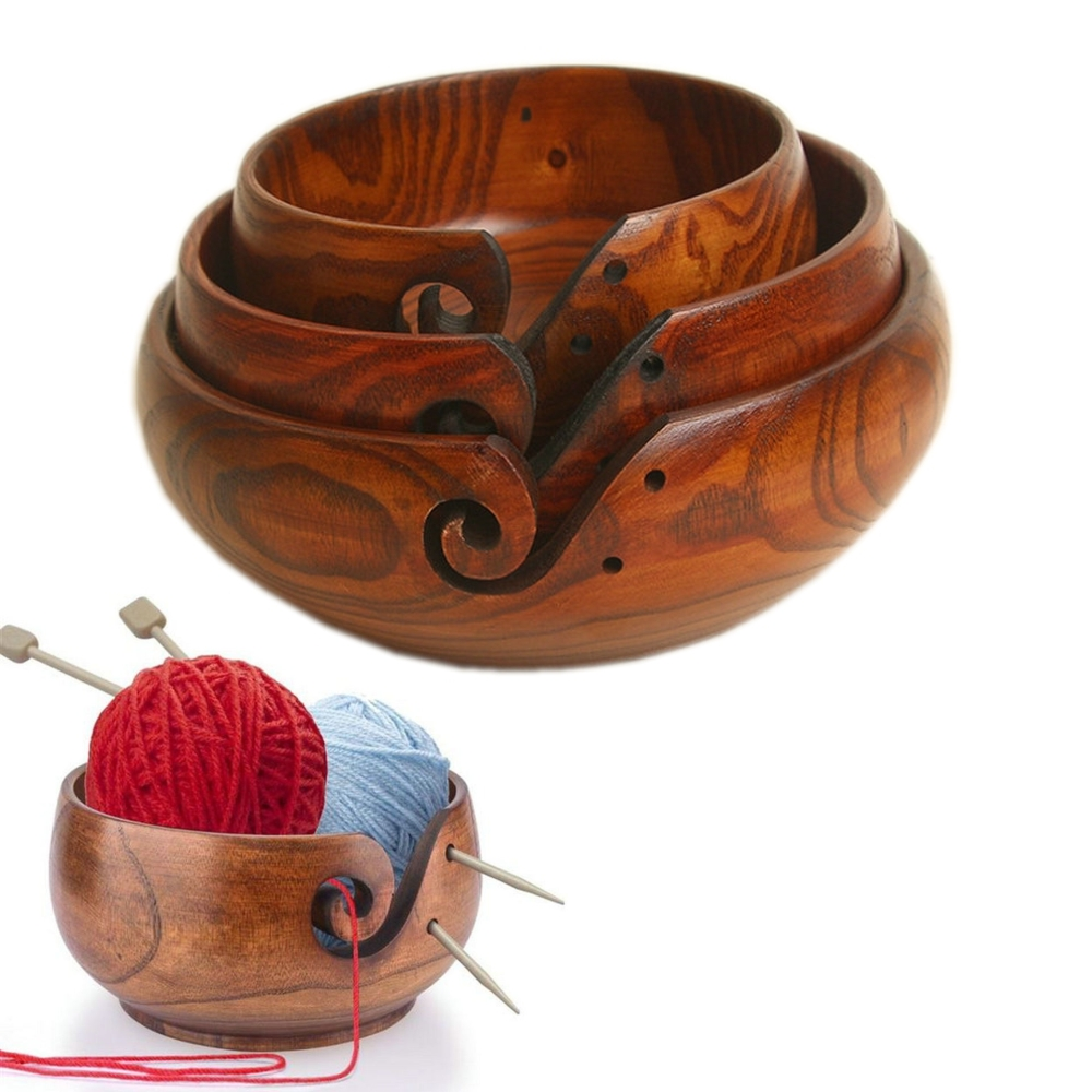 Xiajia 3 Sizes Yarn Storage Bowl Wooden Yarn Balls Organizer For Knitting Crocheting