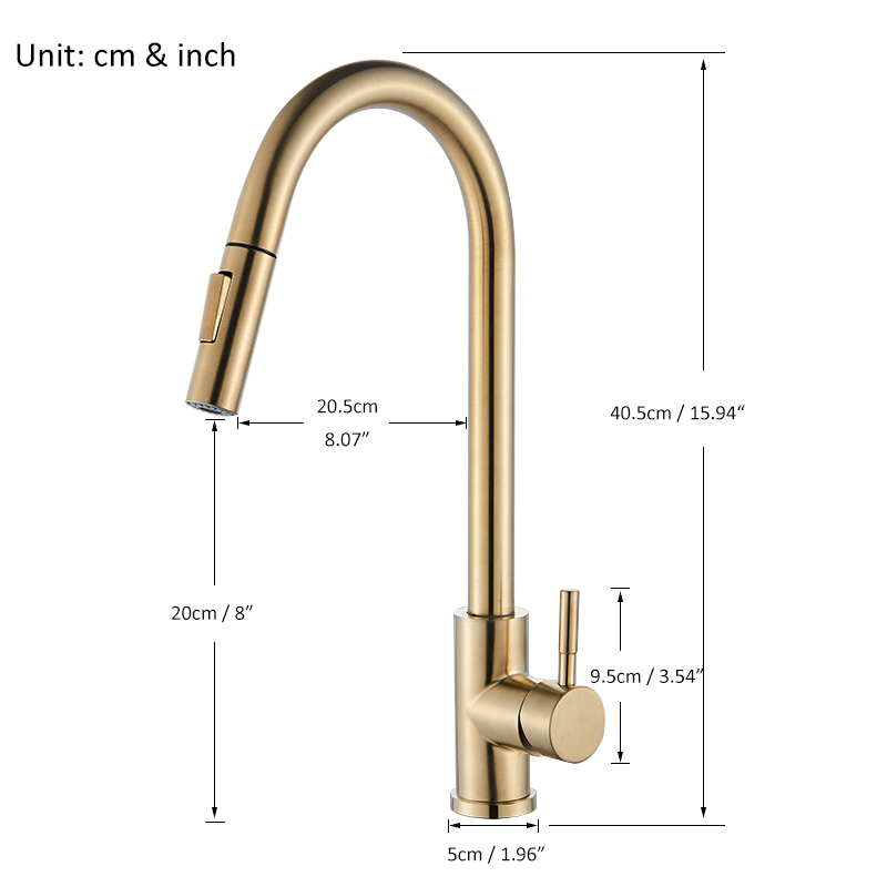 Quyanre Brushed Gold Kitchen Faucet Pull Out Kitchen Sink Water Tap Single Handle Mixer Tap 360 Rotation Kitchen Shower Faucet 2