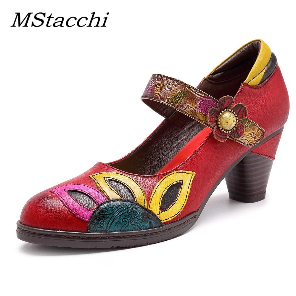 MStacchi خمر المطبوعة مضخات النساء أحذية جلد طبيعي كتلة منتصف كعب الكاحل هوك حلقة ماري جين أحذية امرأة الرجعية الكعوب-في أحذية نسائية من أحذية على  مجموعة 1