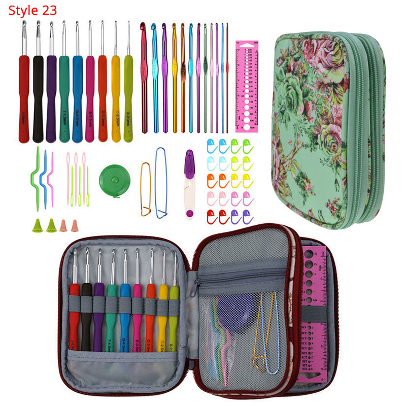 Looen 35 styles Corchet Hooks Set With Case DIY Weave Knitting Needles Set Scissors Needle Arts Craft Sewing Tools Accessories in Sewing Tools Accessory from Home Garden