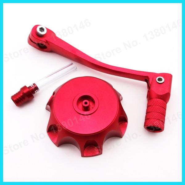 Красный складной Шестерни Цельнокройное переключения рычага+ газ Топливные баки для мотоциклов Кепки Крышка для 50 125 160 cc Пит Байк Stomp ycf SDG мотоцикл