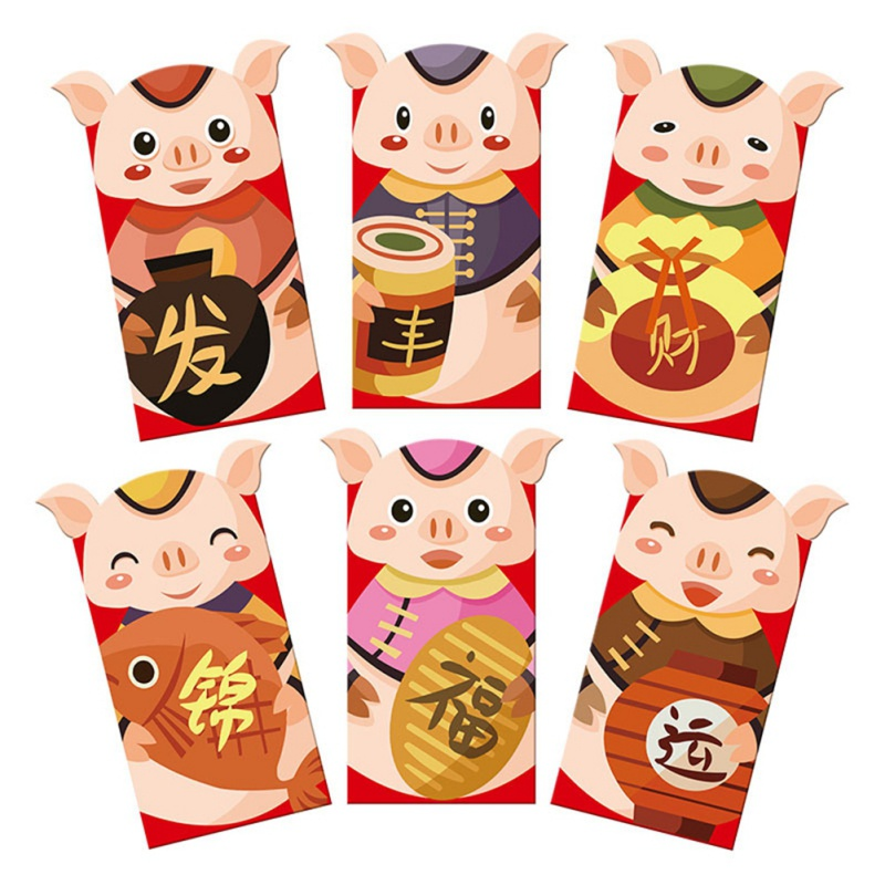 Red Packets Cute Cartoon Pig Red Envelopes for Chinese New ...