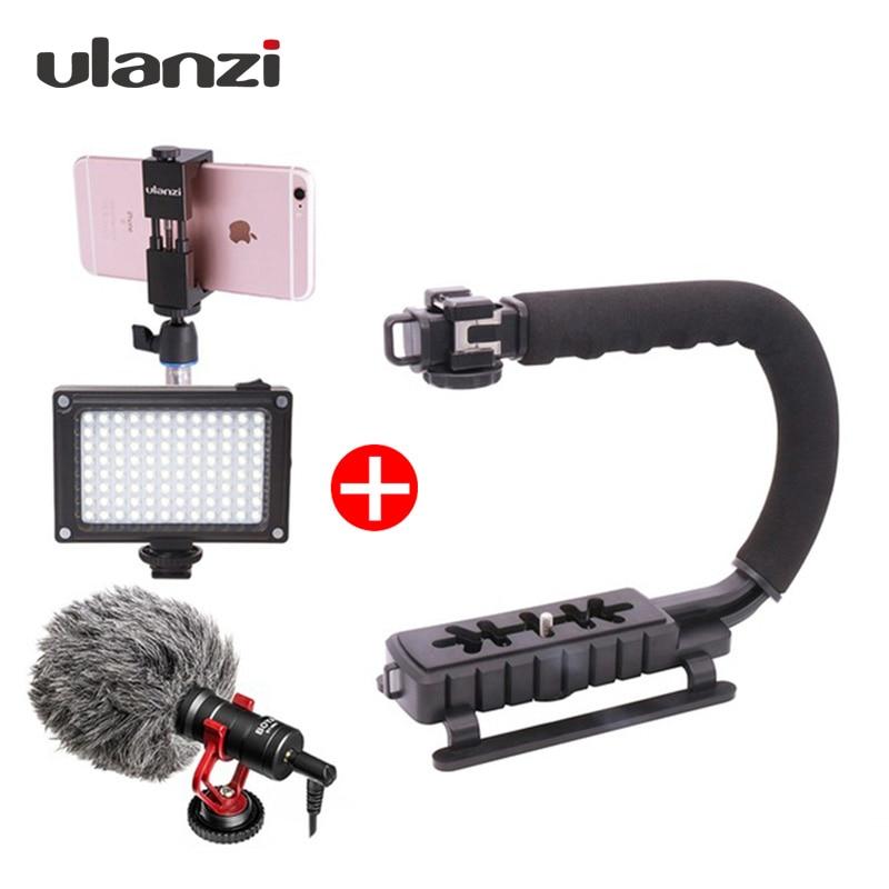 Ulanzi ручной телефон видео Шестерни стабилизатор комплект Steadicam с BY-MM1 микрофон светодио дный свет для iPhone 8 7 plus Gopro Nikon DSLR
