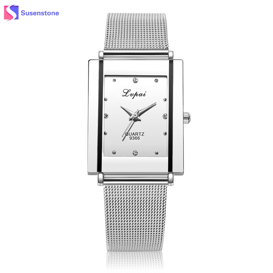Luxury Watches Women Famous Brand Rectangle Quartz Wristwatch Clock Silver Stainless Steel Mesh Band Ladies Dress Gift Watches brand new reloj pulsera luxury quartz women watches diamond clock bracelet ladies dress golden wristwatch 2016 10 gift 1pc