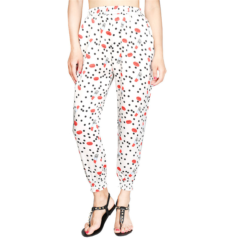 Loose Harem Pant High Waist Show Thin Printed Women's Wear Casual Ankle-Length Trousers Pockets 28