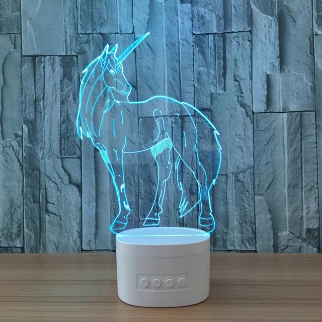 La Licorne Forme 3d Night Lights Bluetooth Haut Parleur Musique