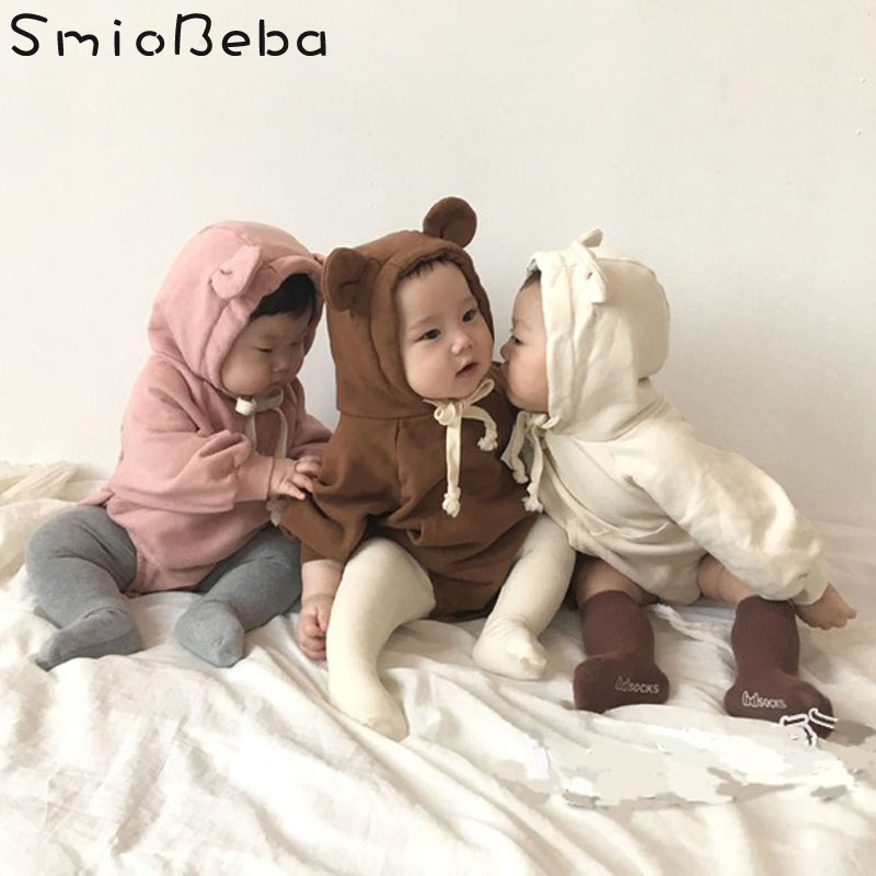 2018 Baby Cute Korean Bebes   Rompers   Teddy Bear Ears with Velvet Soft Package Baby Boys   Romper   Cute Animals Boys   Rompers   Clothing